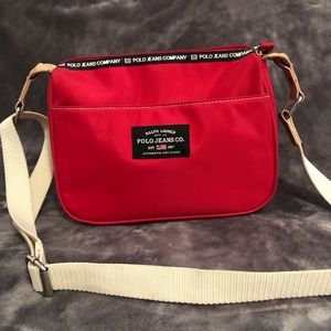 RALPH LAUREN POLO JEANS CO. Red crossbody tote bag